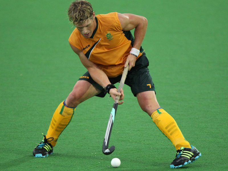 CAPE TOWN, SOUTH AFRICA - FEBRUARY 11, Tim Drummond from South Africa during the Mens hockey match between South Africa and Great Britain at Stellenbosch University Astro Turf on February 11, 2012 in Cape Town, South Africa Photo by Luke Walker / Gallo Images